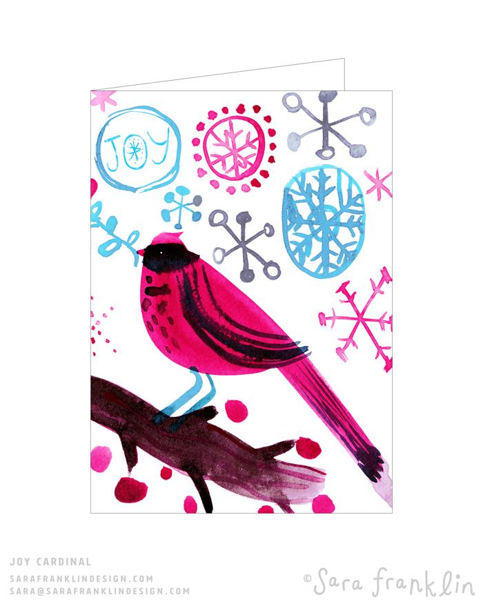 Red Cardinal Holiday Card / Greeting Card / Licensing / Sara Franklin