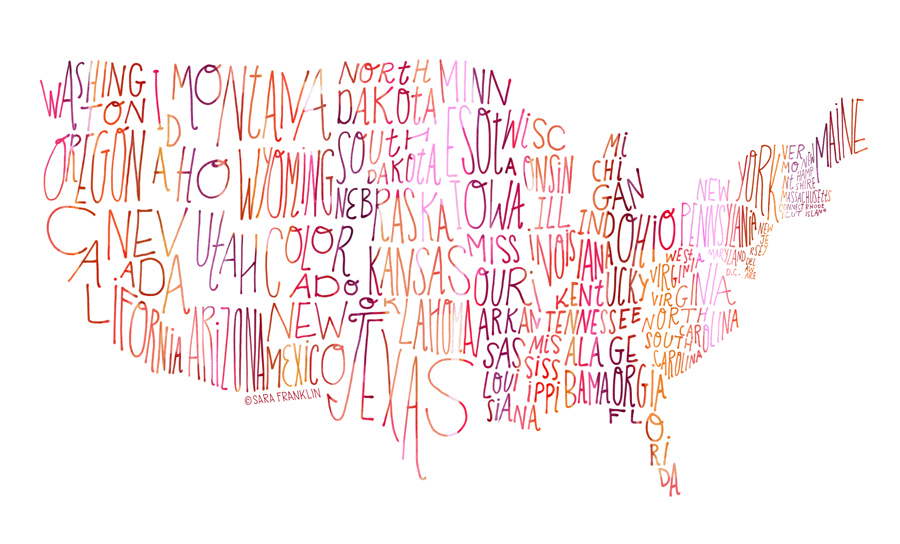 Sara Franklin / Map of the US / Lettering / Illustration