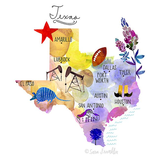 Guess what! My #texasmap is finished!! Now available in my #etsyshop #texas #homedecor #wallart #texaswallart #artprints #watercolor #maps #illustration #mapillustration 🖌
