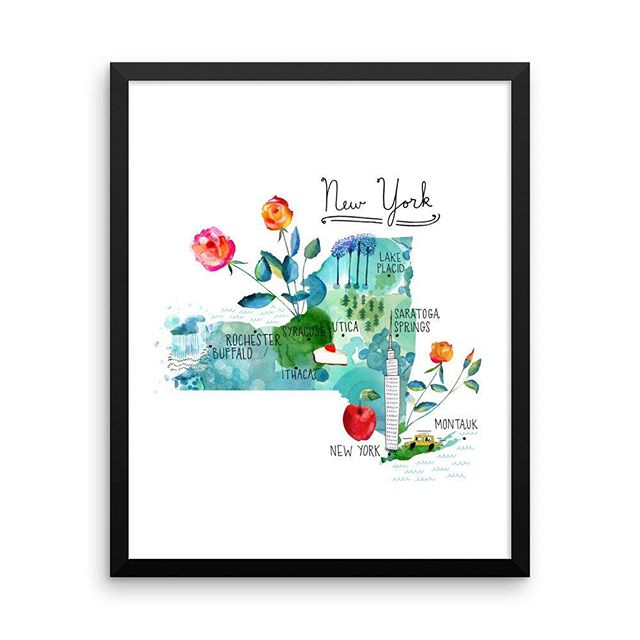 My #newyorkmap is now shipping! 🚖 #etsy shop: New York Map Print, Framed Poster, Framed New York Poster, Watercolor Map of New York https://etsy.me/2I4zZvj