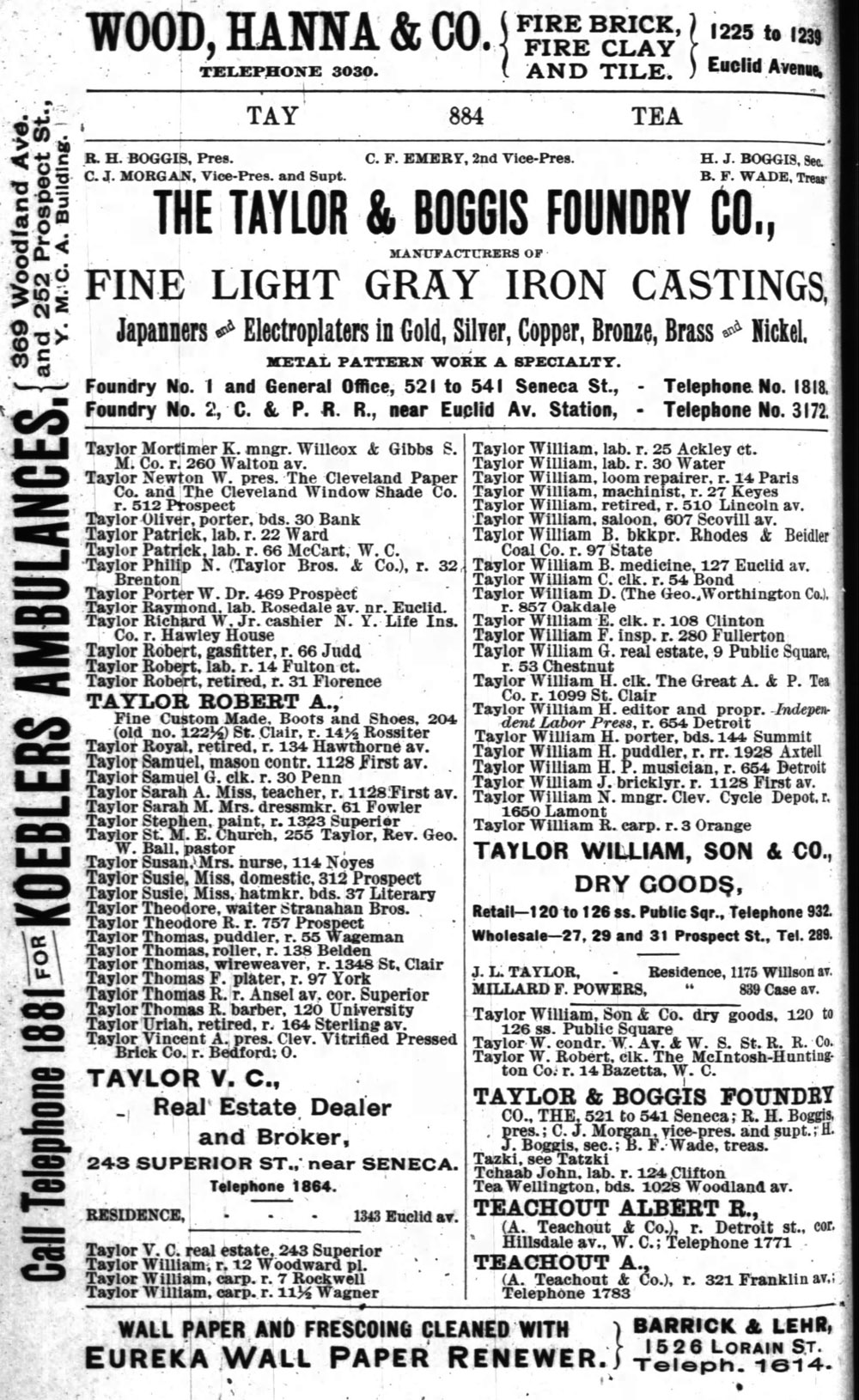 1891 City Directory for Cleveland, Ohio (p.884)