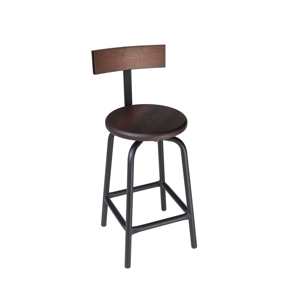 "SWIVEL PUB STOOL // 24"" HEIGHT / WITH BACK"