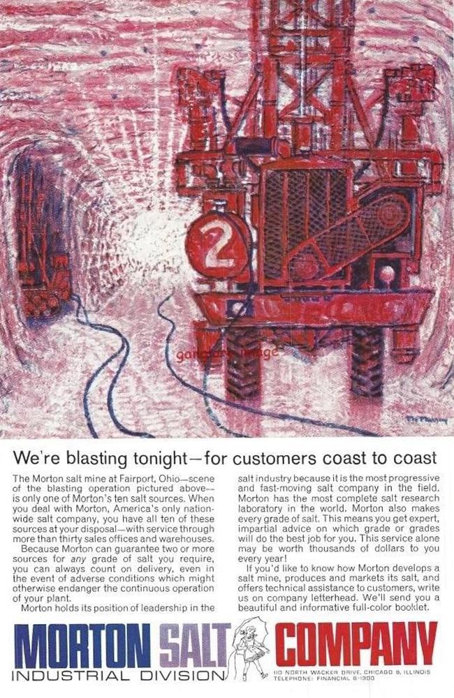 1961 Morton Salt Vintage Print Ad Salt Mine Fairport, Ohio