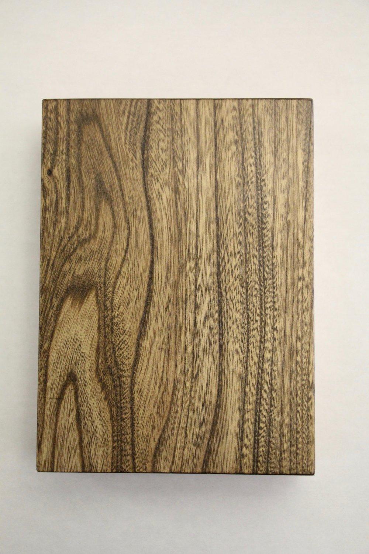 Elm / smooth / grey stain / polyurethane / dull