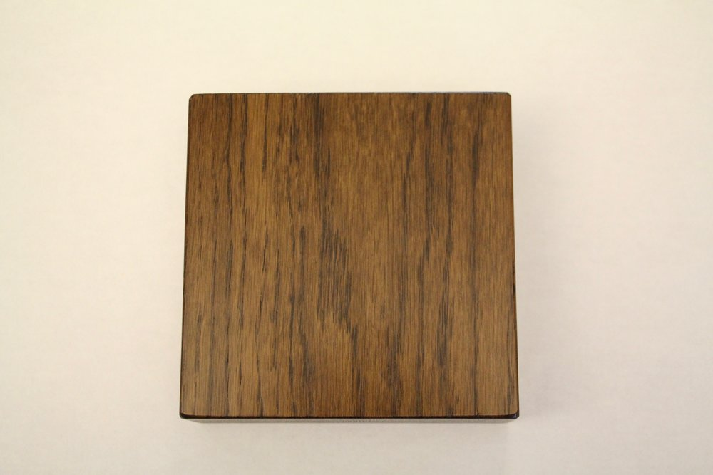 White oak / smooth / dark walnut stain / polyurethane
