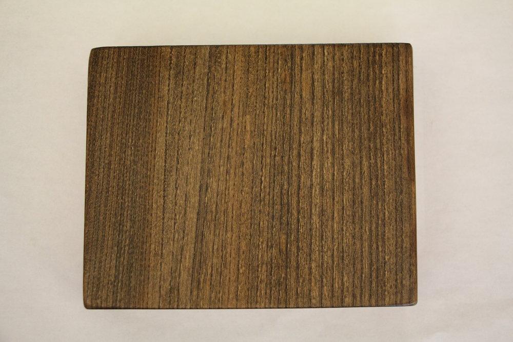 Elm / slab / grey stain / polyurethane / dull