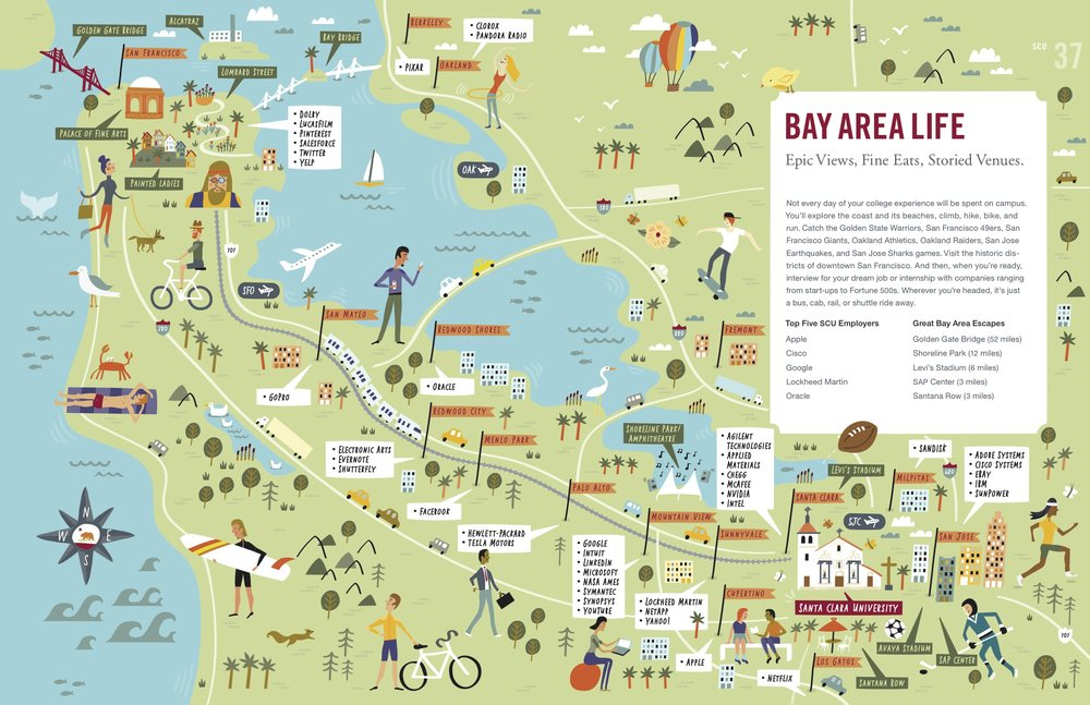 Illustrated map of the Bay Area by Nate Padavick