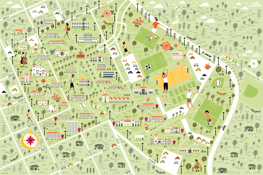 Illustrated campus map of Santa Clara University by Nate Padavick