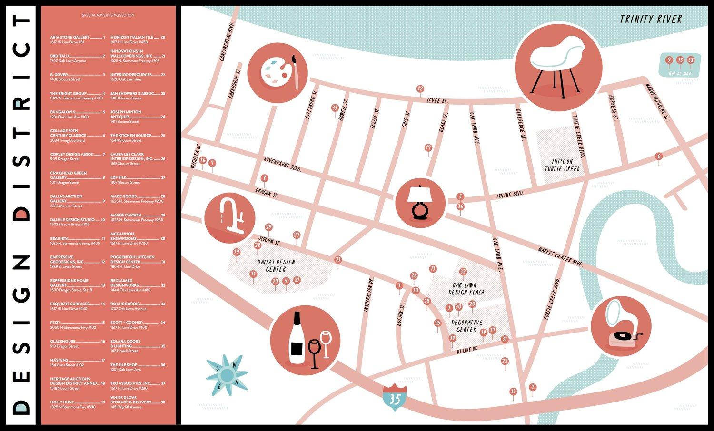 Illustrated Map of Dallas Design District — Nate Padavick on