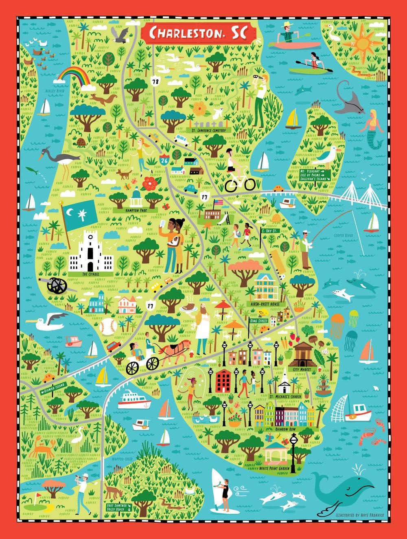 Illustrated Map of Charleston SC Nate Padavick