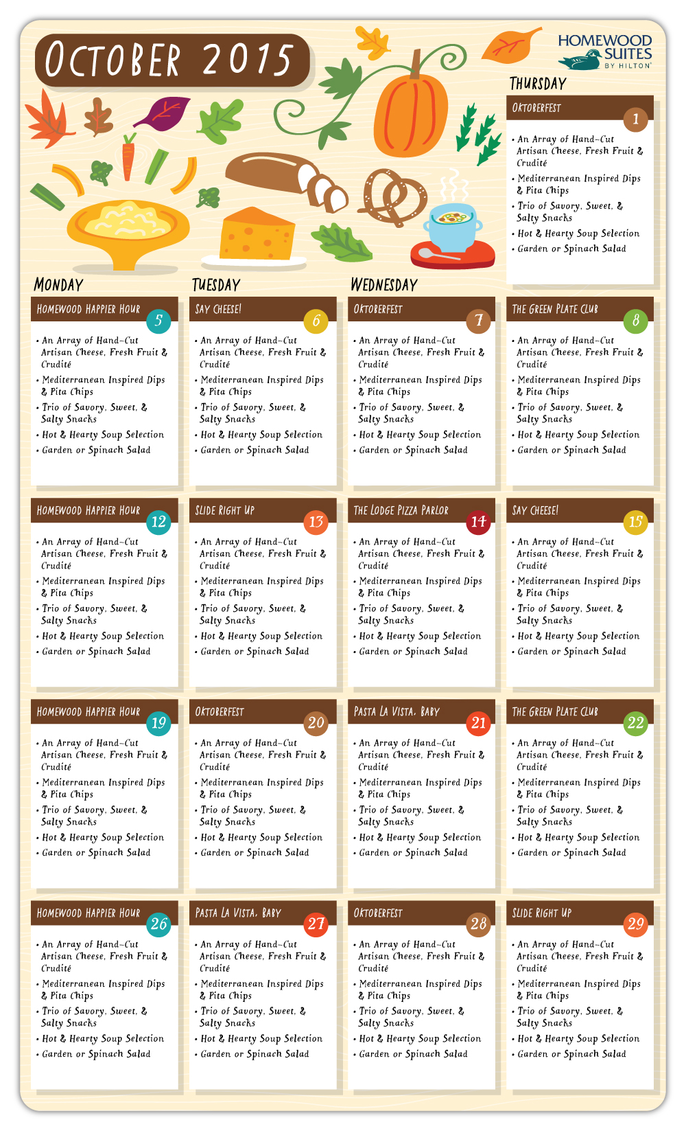 Homewood Suites by Hilton - Monthly meal calendar