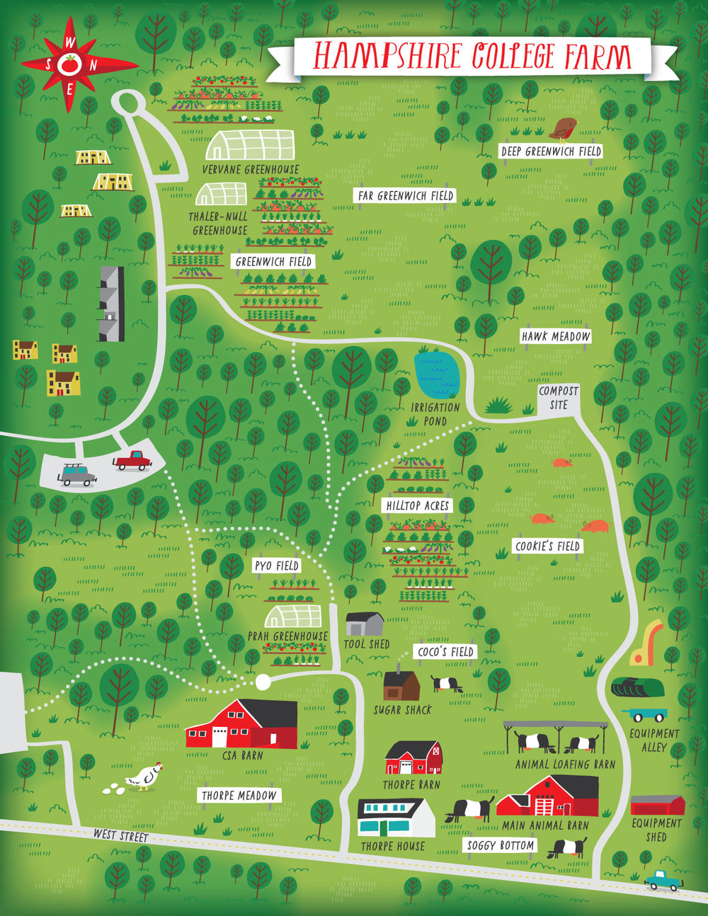 Illustrated campus map of Hampshire college farm
