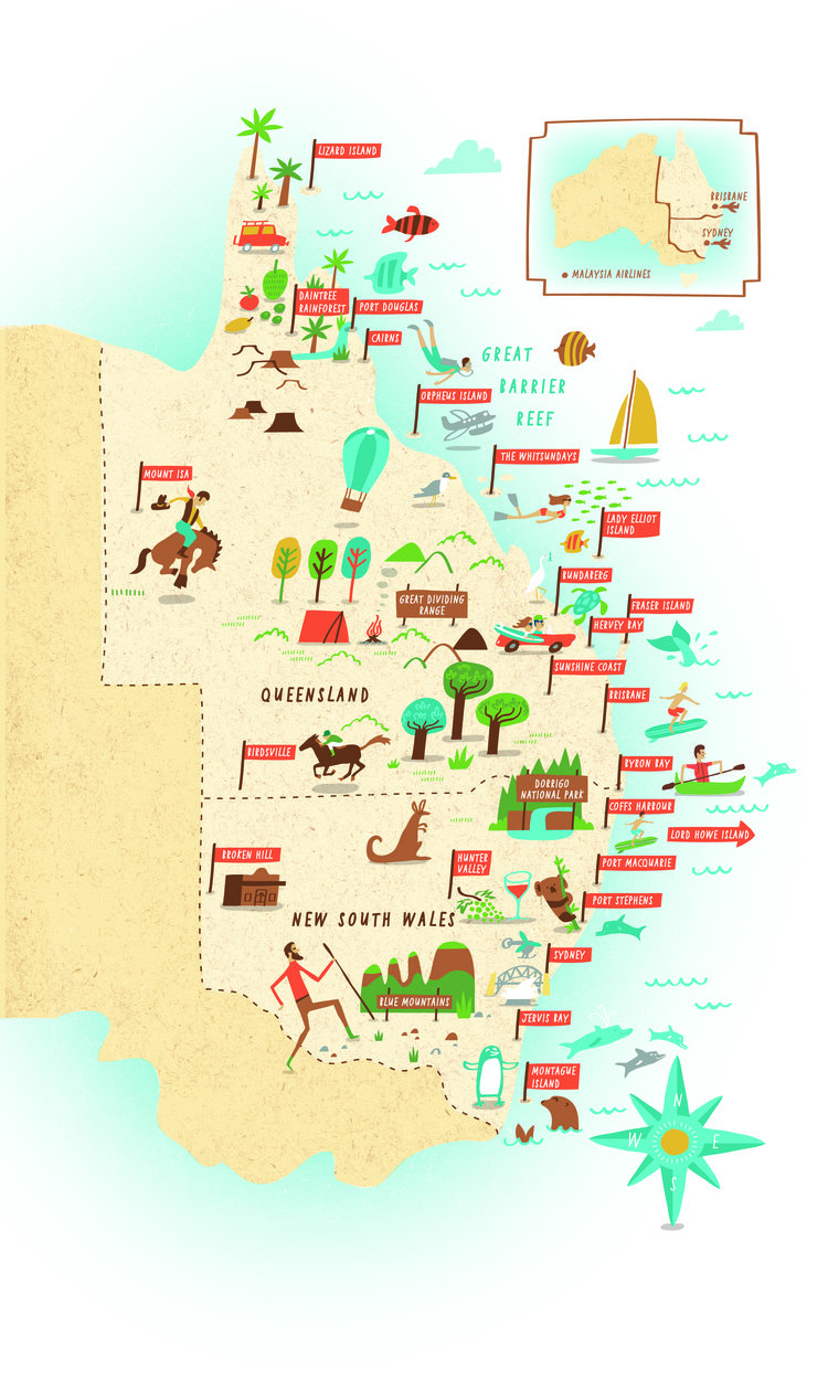 illustrated map of new south wales australia
