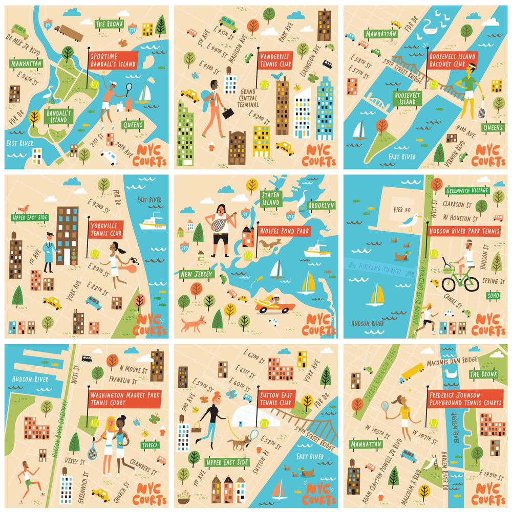 Illustrated Map Of Nyc Tennis Courts Nate Padavick - Us-open-court-map