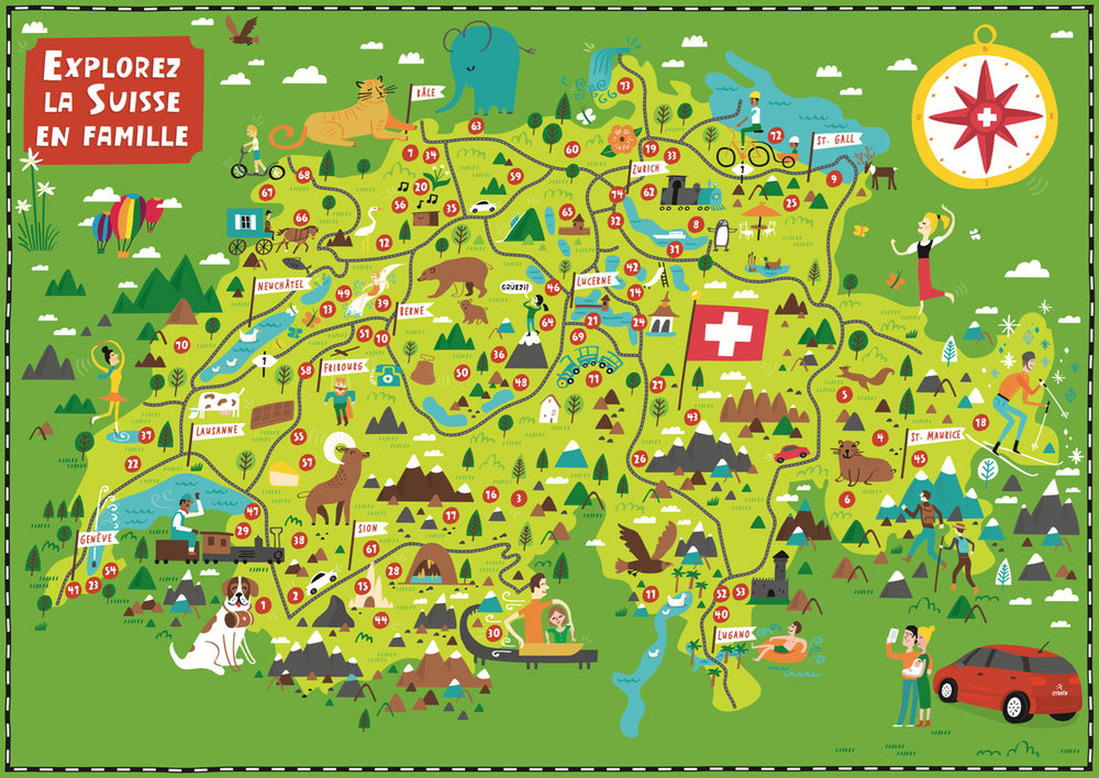 Illustrated Map of Switzerland Nate Padavick