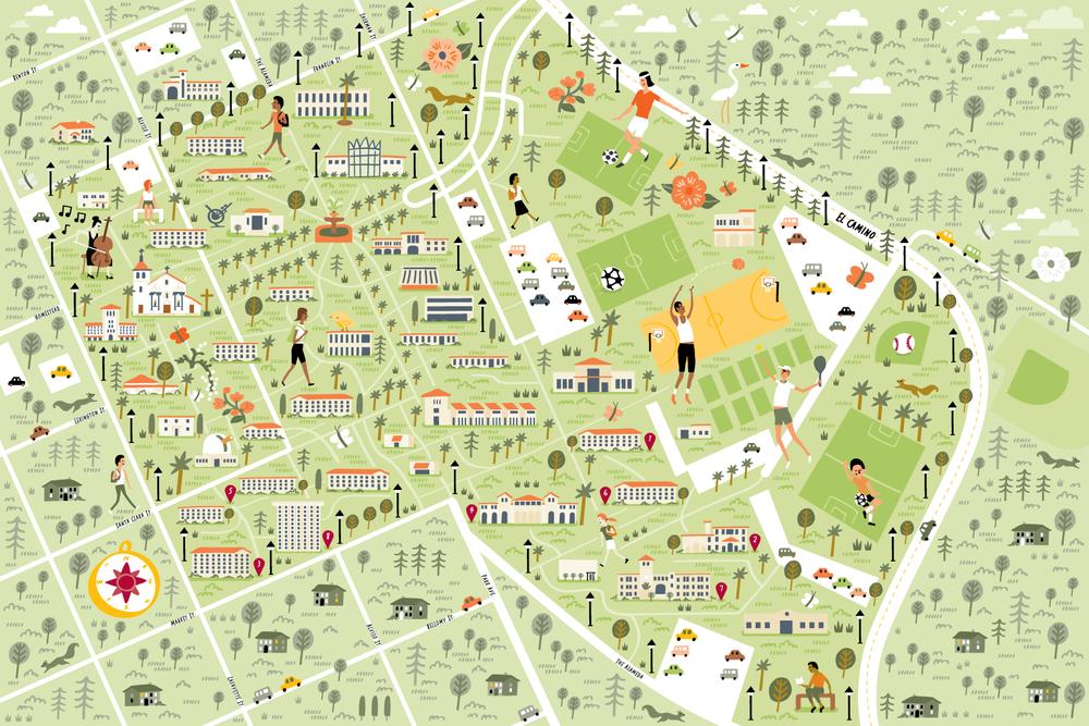 Illustrated Campus Map of Santa Clara University