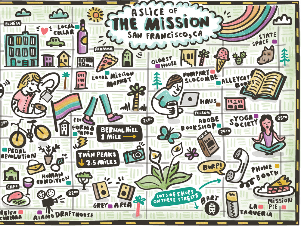 Mission San Francisco Illustrated Map  by Nate Padavick