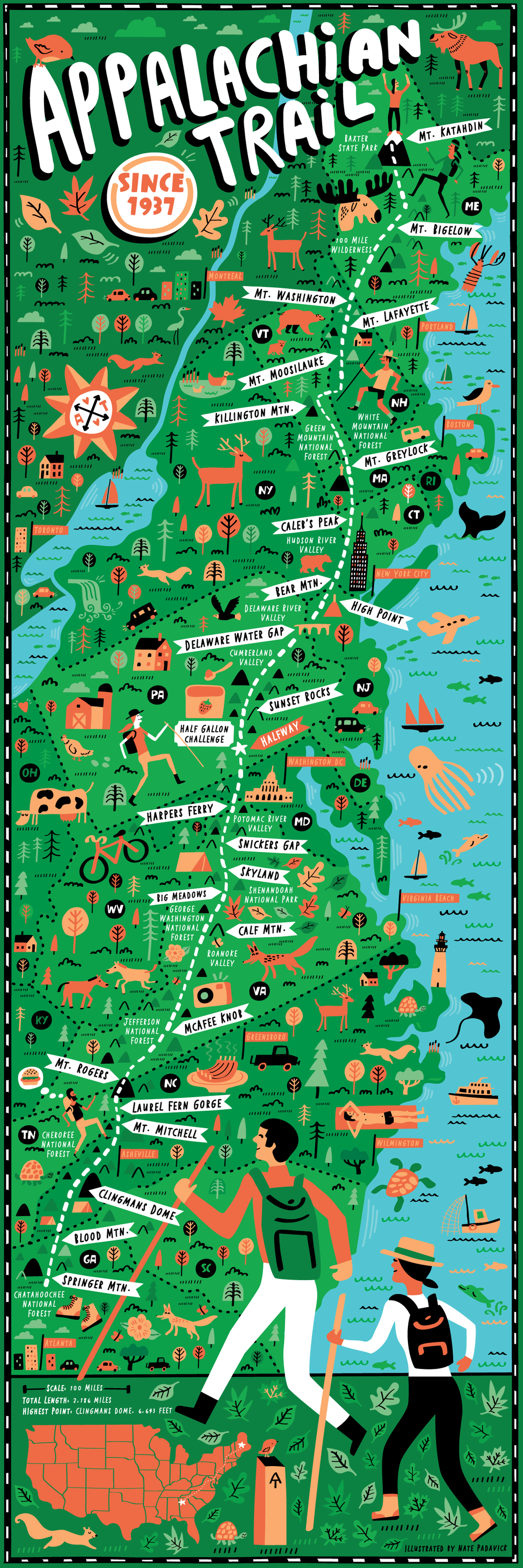Appalachian Trail map illustrated by Nate Padavick