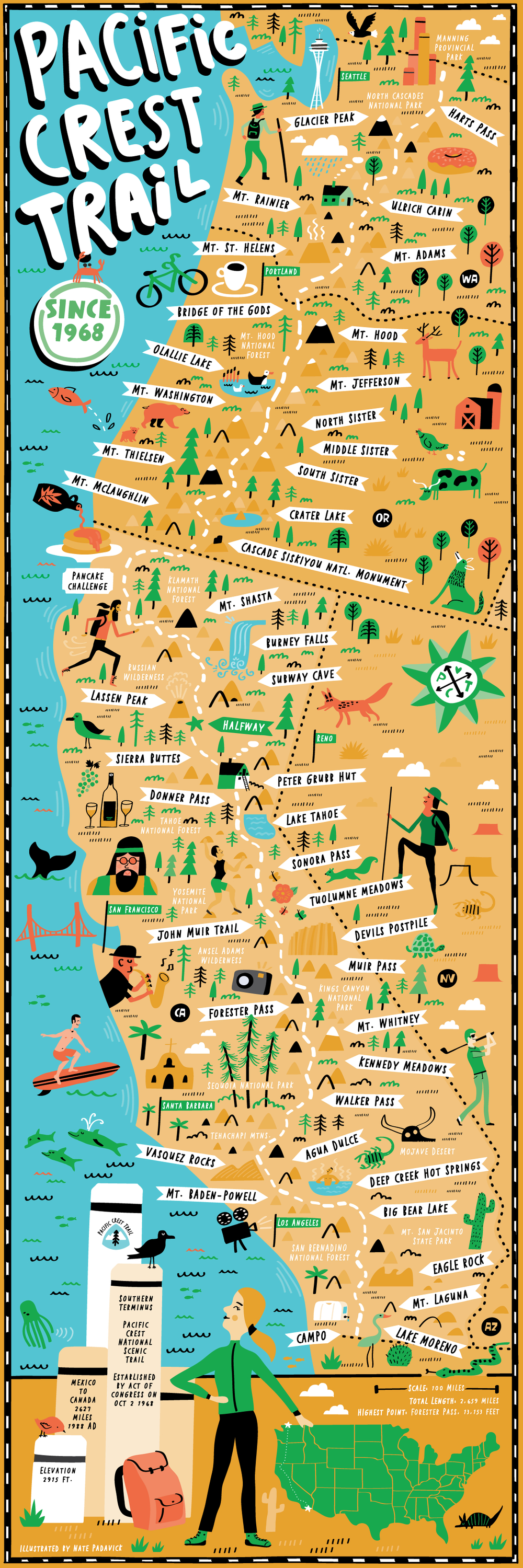 Illustrated Map of Pacific Crest Trail — Nate Padavick