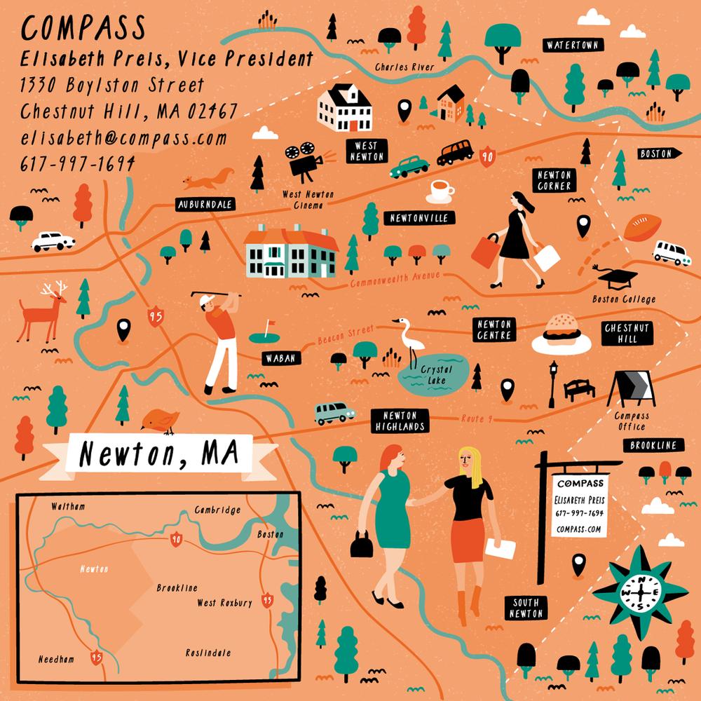 Illustrated map of Newton, Massachusetts by Nate Padavick