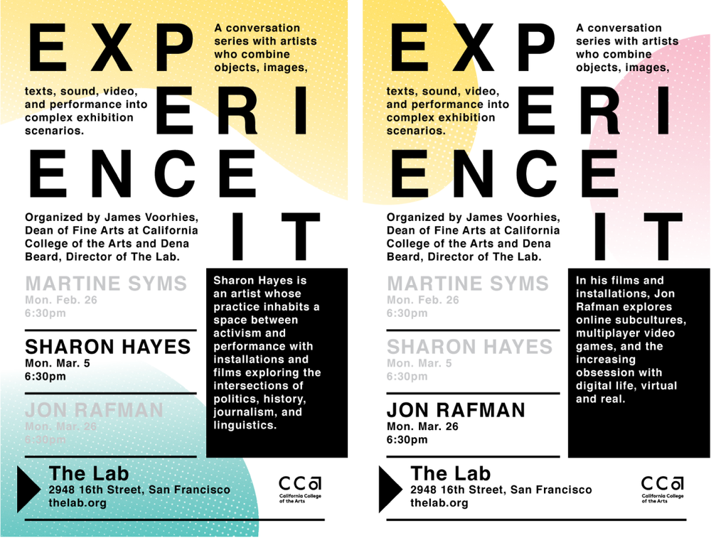California College of the Arts - 2018, posters for Experience It lecture series