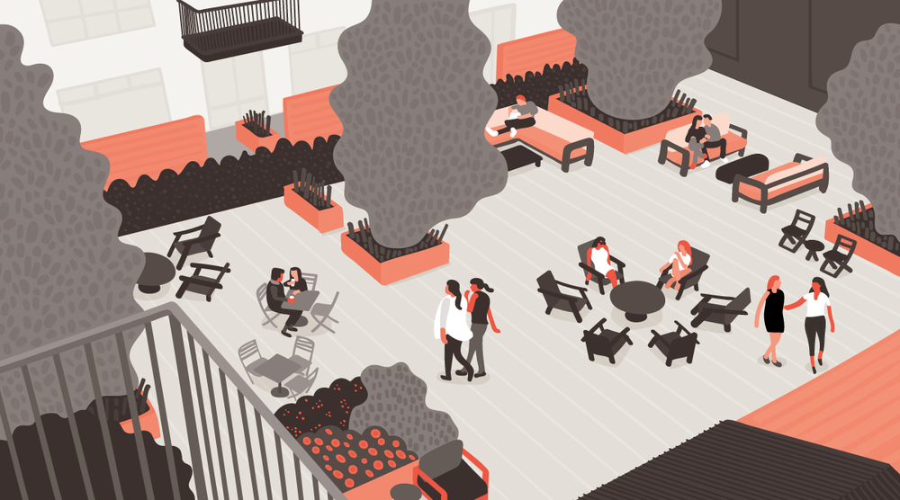 Hotel Courtyard Rendering by Nate Padavick