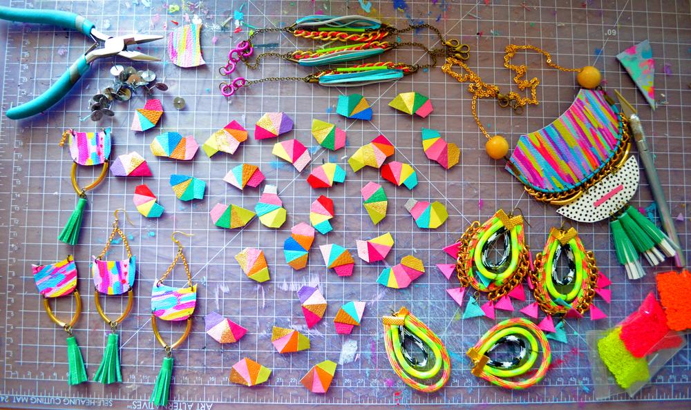 Handmade jewelry in the studio