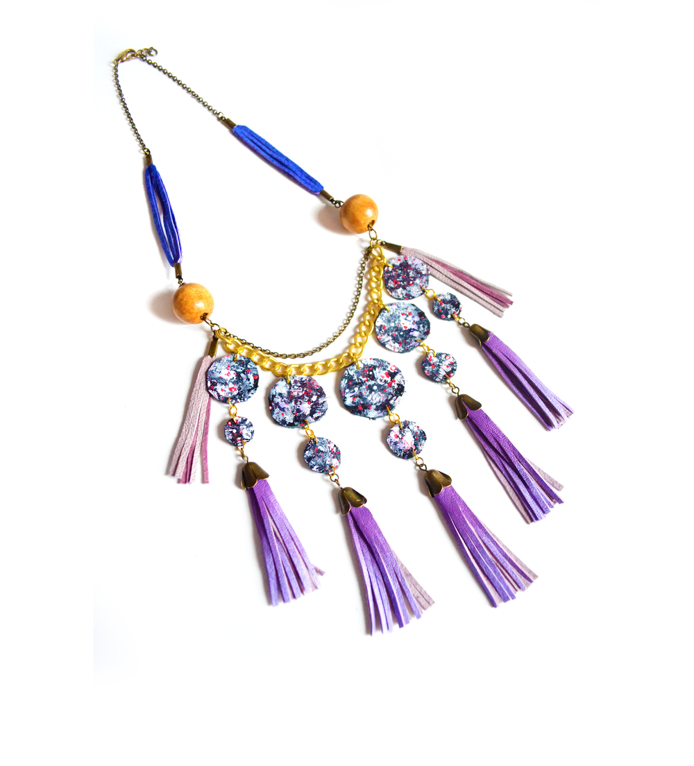 Tribal Fringe Leather Necklace - Purple Statement Necklace