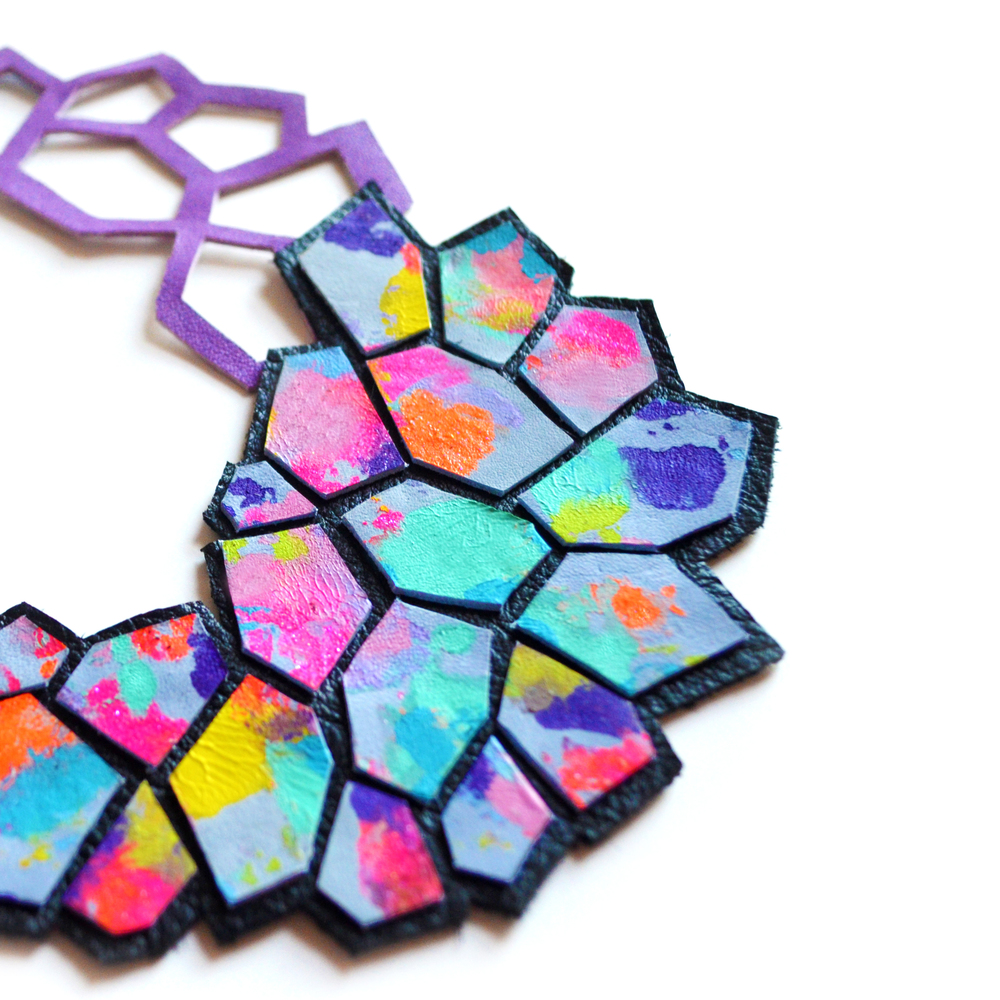 Geometric Bib Necklace, Hexagon Leather Jewelry, Modern Multicolor Cells Pattern 5.jpg