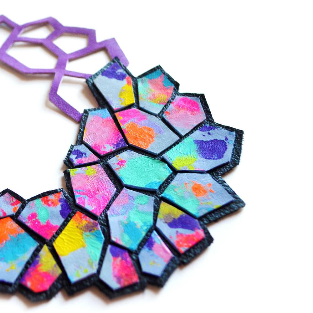 Geometric Bib Necklace, Hexagon Leather Jewelry, Modern Multicolor Cells Pattern 5.jpg