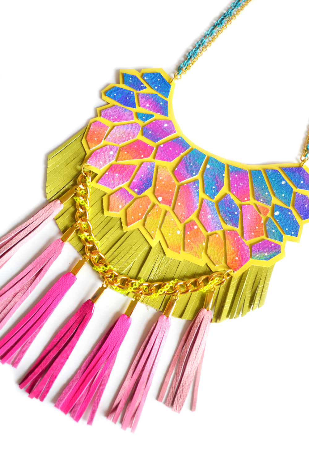Galaxy Statement Necklace Leather Geometric Hexagon and Neon Fringe Statement Jewelry11.jpg