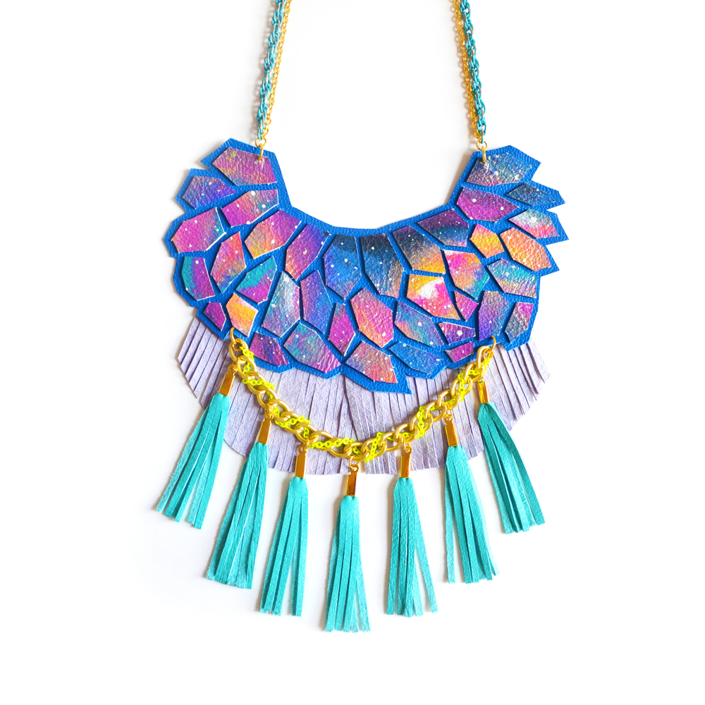 Blue Galaxy Leather Geometric Necklace