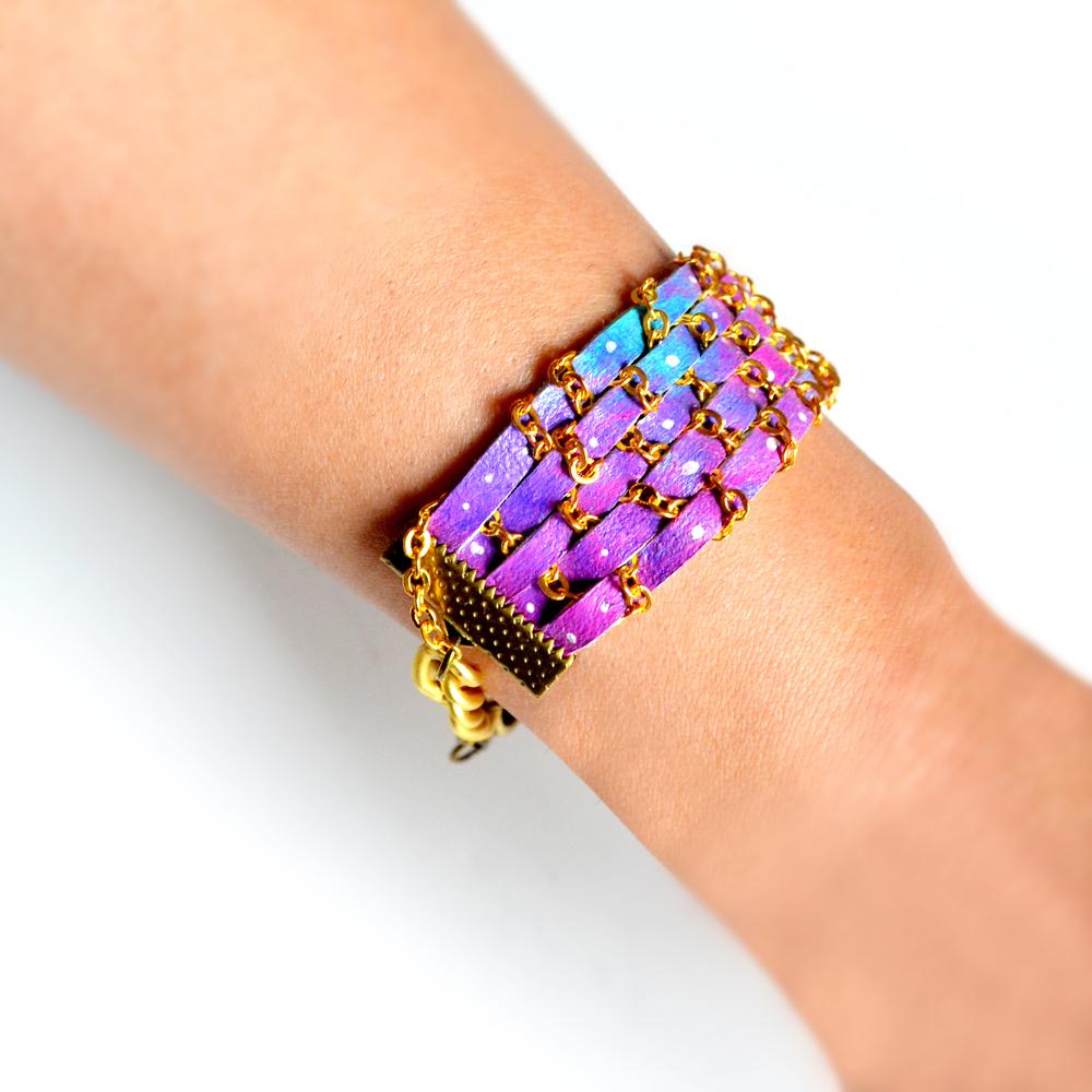Universe Leather Cuff Bracelet