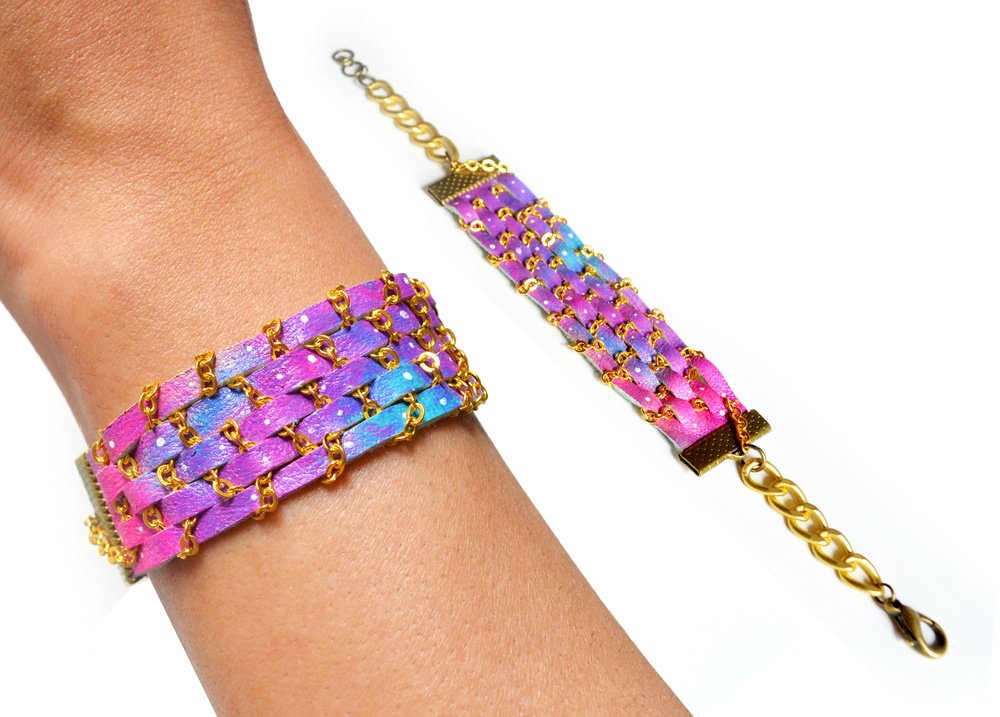 Woven Chain Friendship Bracelet Neon Galaxy Ombre Leather Jewelry 8.jpg