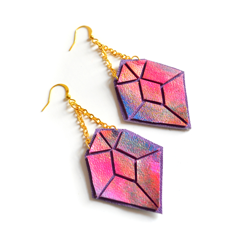 Diamond Leather Earrings Orange and Pink Ombre, Geometric Jewelry 4.jpg