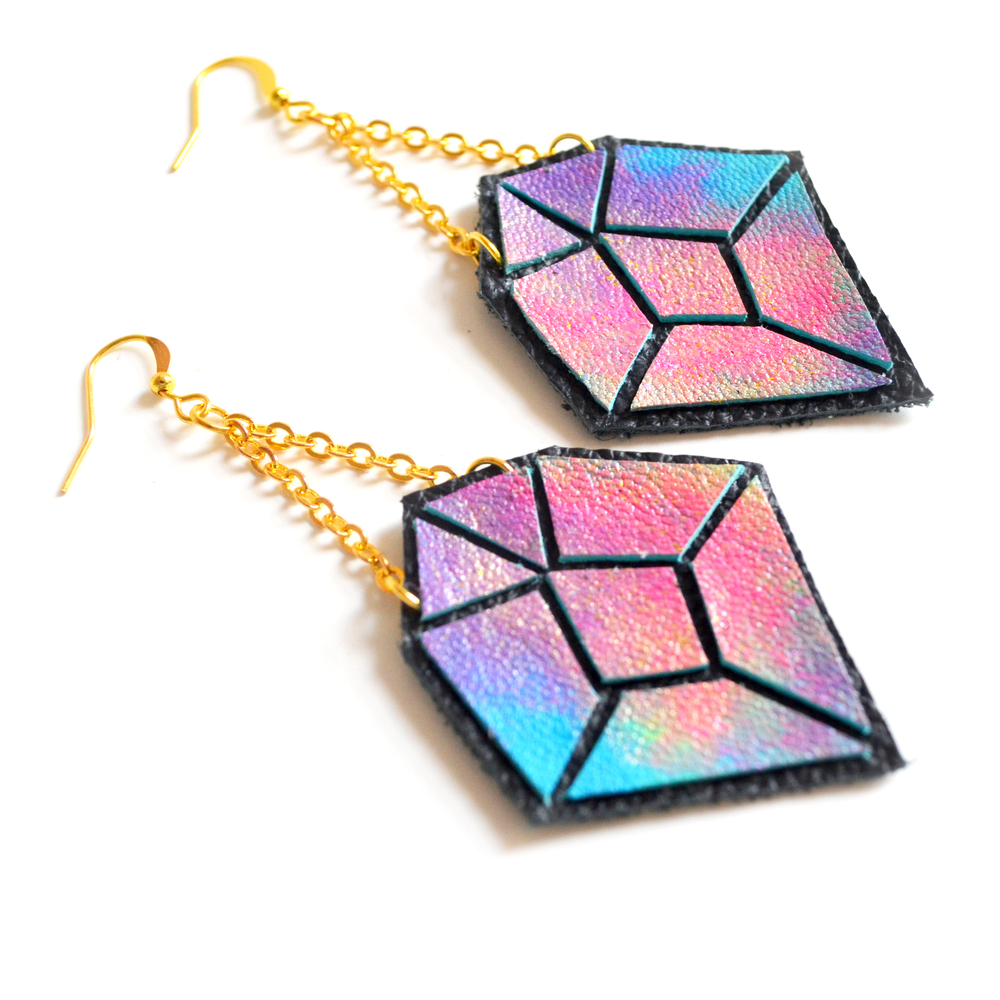 Diamond Leather Earrings Purple and Pink Ombre, Geometric Jewelry 5.jpg
