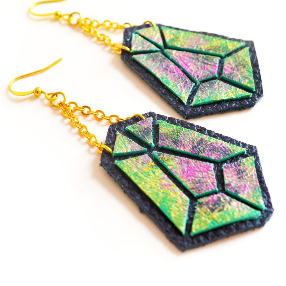 Diamond Leather Earrings Emerald and Pink Ombre, Geometric Jewelry 4.jpg