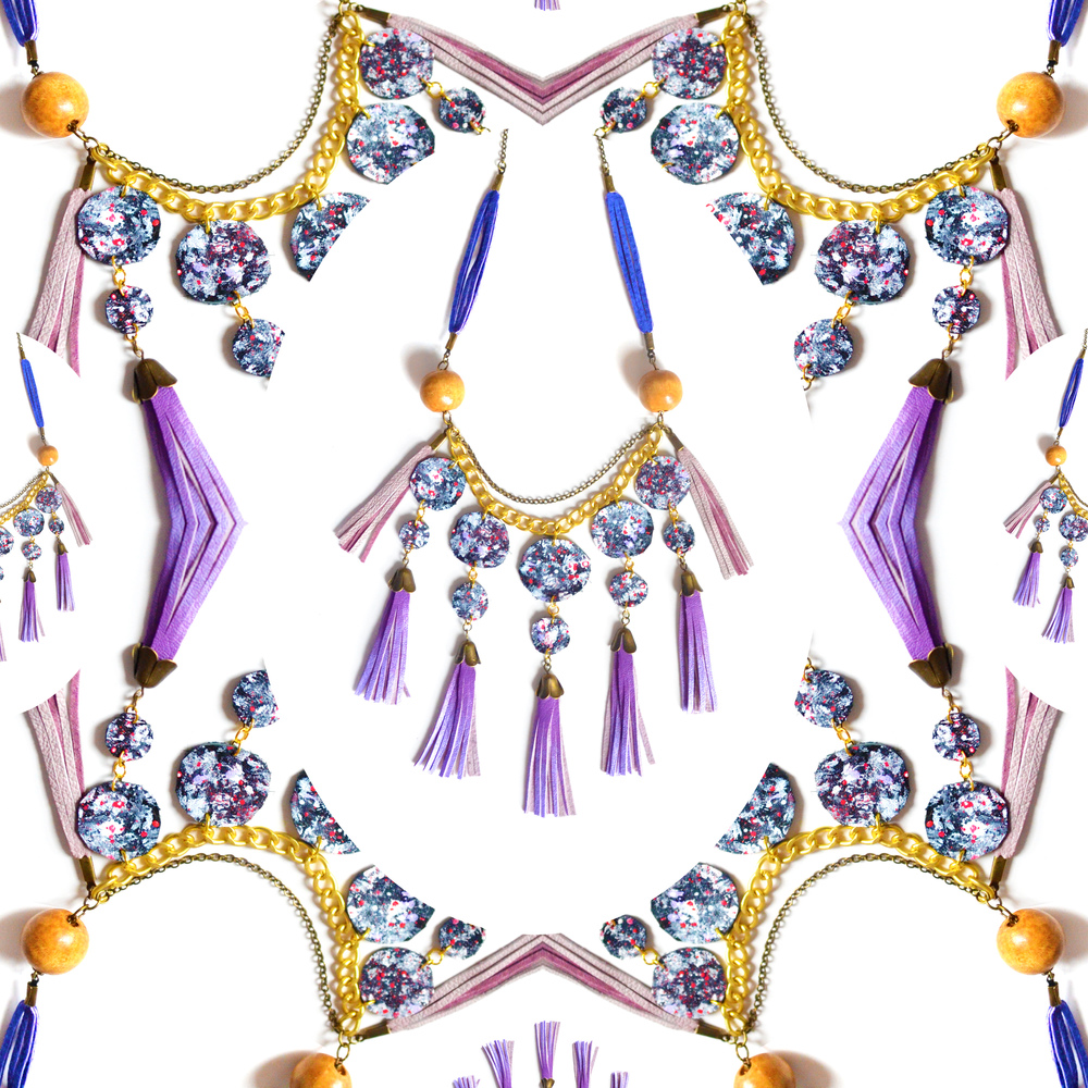 Purple Fringe Statement Necklace Leather Circles and Ombre Tribal Fringe, Statement Jewelry 8.jpg