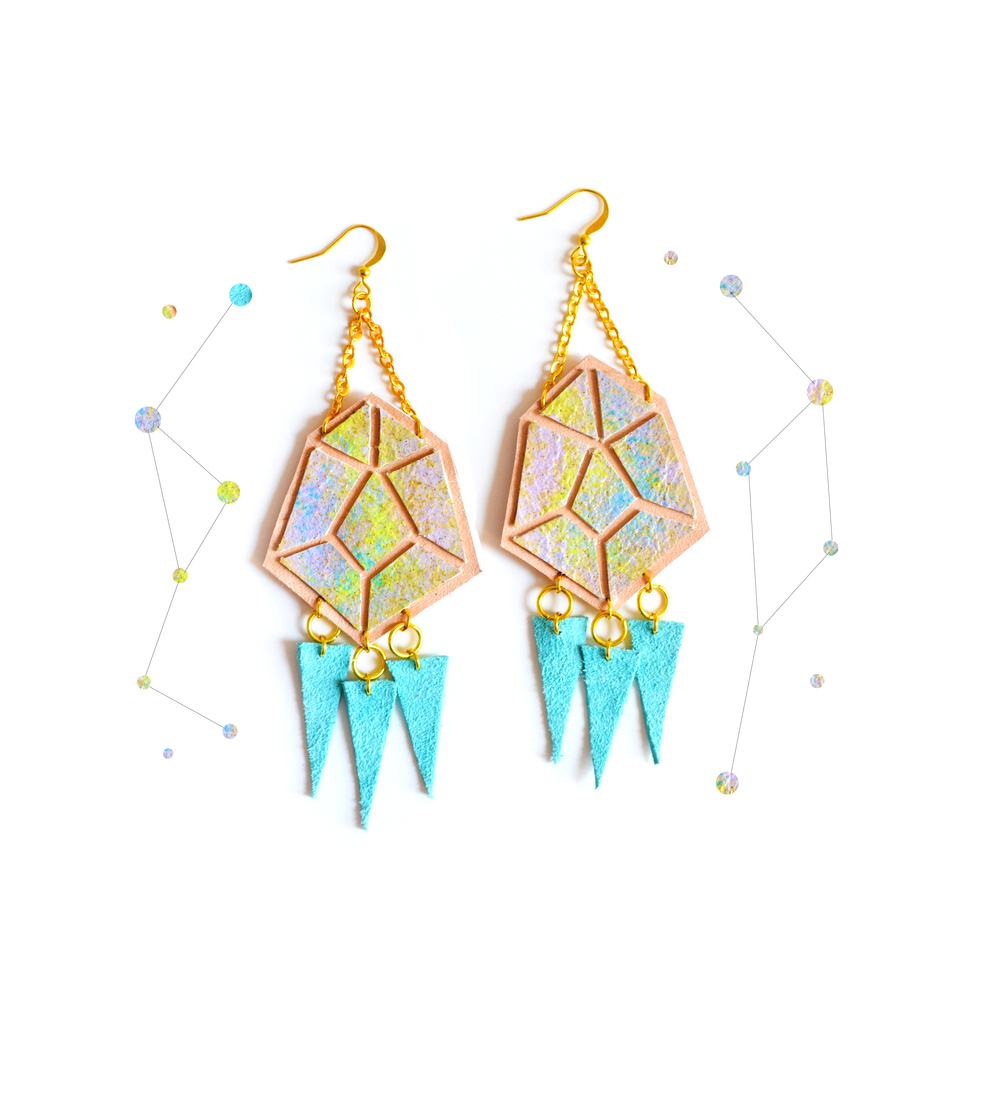 Diamond Spike Leather Earrings Peach and Yellow Ombre, Geometric Jewelry 8.jpg