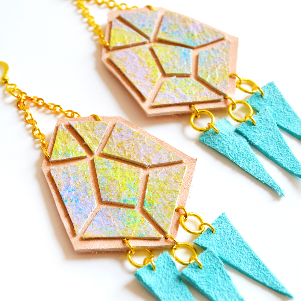 Diamond Spike Leather Earrings Peach and Yellow Ombre, Geometric Jewelry 4.jpg