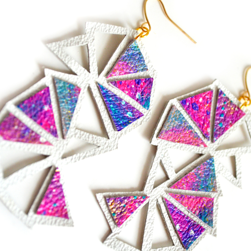 Galaxy Leather Earrings Geometric Triangle Array Ombre Jewelry 4.jpg