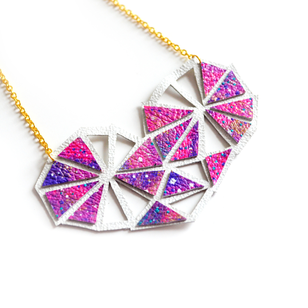 Geometric Bib Necklace Galaxy Space Ombre Triangle Leather Jewelry 3.jpg