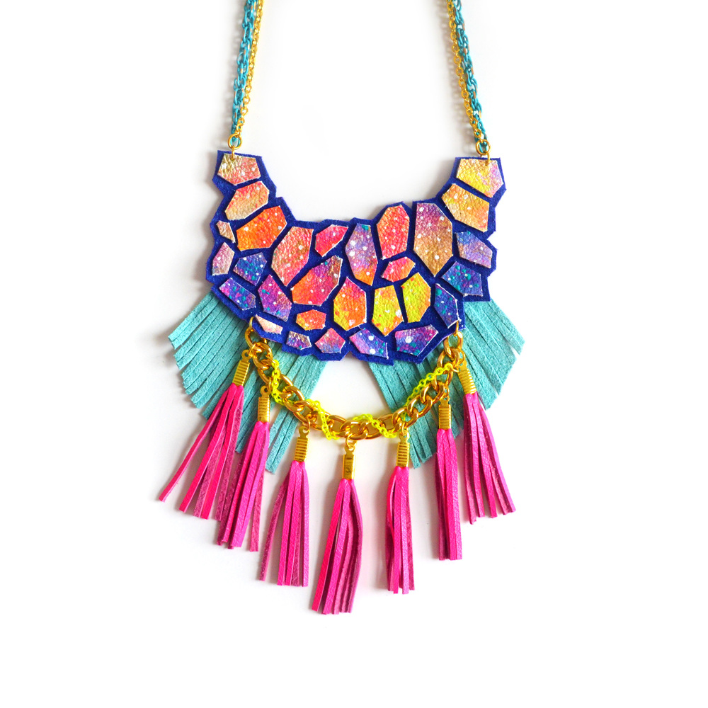 Galaxy Statement Necklace Leather Geometric Hexagon and Neon Fringe Statement Jewelry.jpg