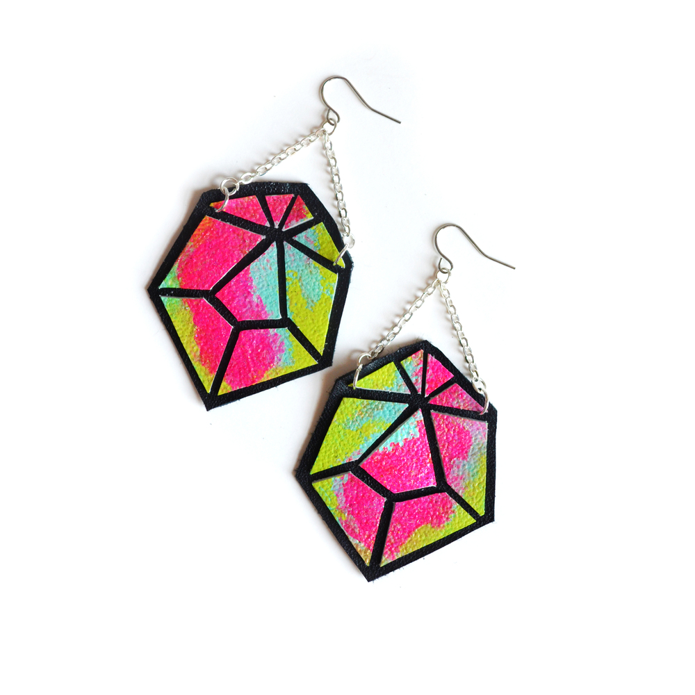 Geometric Earrings, Leather Prism Faceted Gems, Ombre Hot Pink, Teal and Green Color 2.jpg