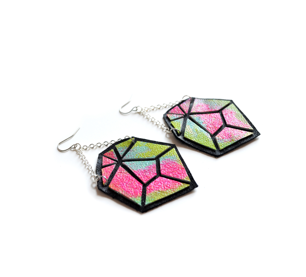 Geometric Earrings, Leather Prism Faceted Gems, Ombre Hot Pink, Teal and Green Color 4.jpg