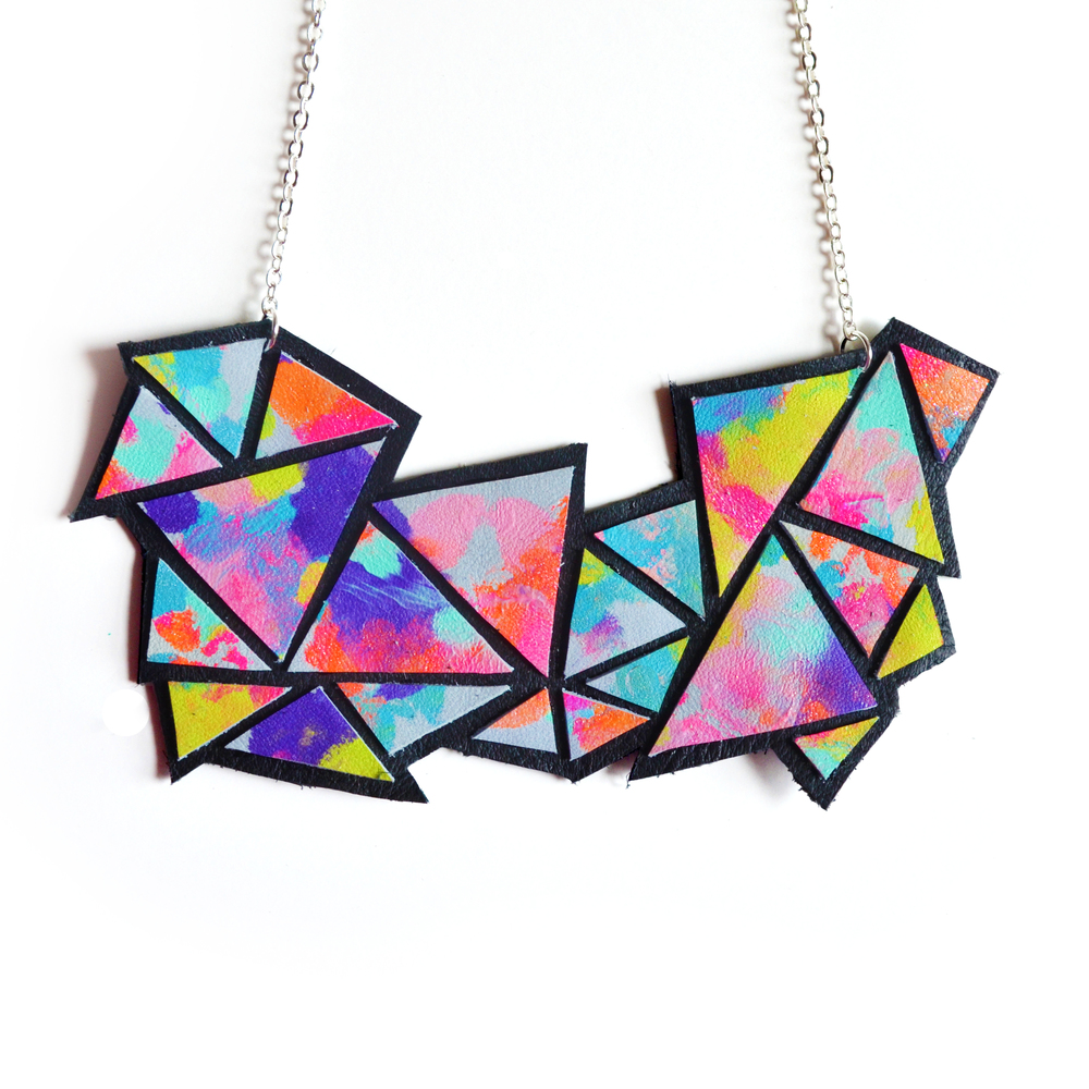 Geometric Necklace, Neon Colorful Triangle Kaleidoscope, Leather Bib Necklace.jpg