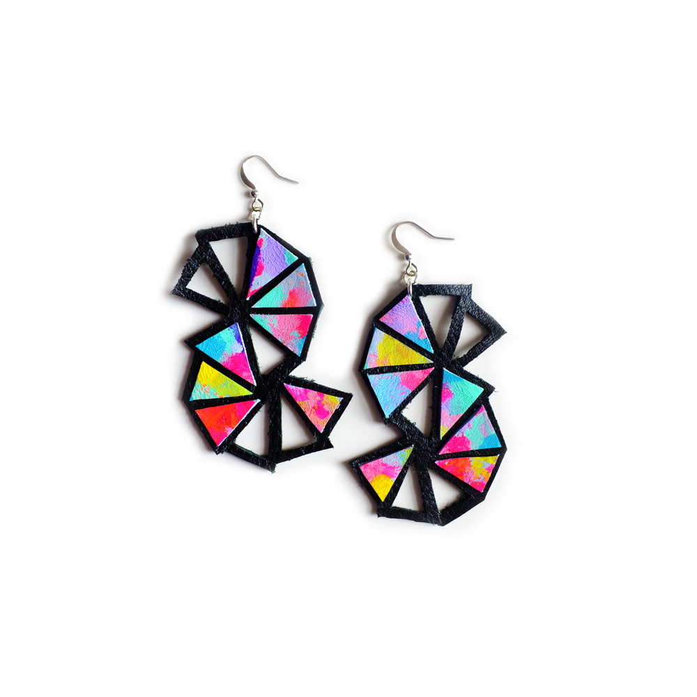 Neon Triangle Leather EarringsCosmic Galaxy Faceted Geometric Jewelry 2.jpg