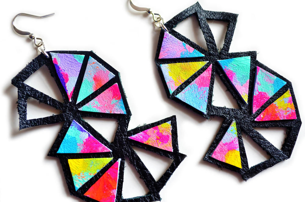 Neon Triangle Leather EarringsCosmic Galaxy Faceted Geometric Jewelry 3.jpg