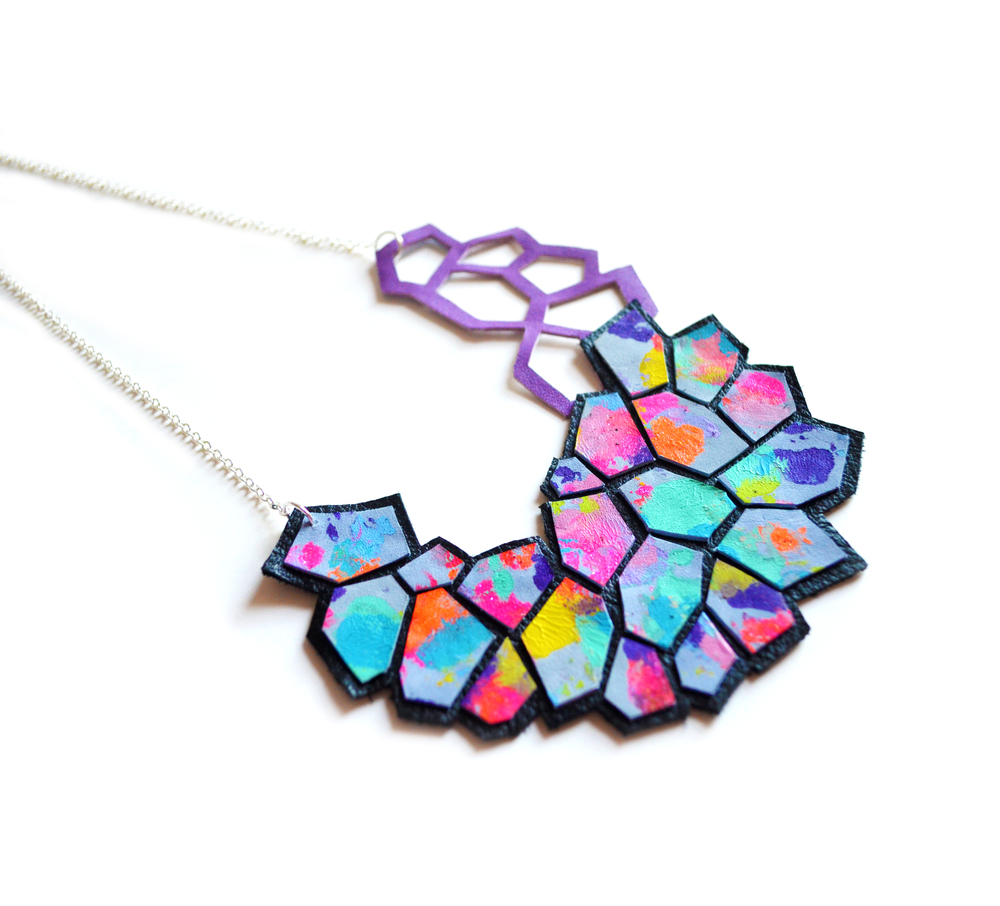 Geometric Bib Necklace, Hexagon Leather Jewelry, Modern Multicolor Cells Pattern 3.jpg