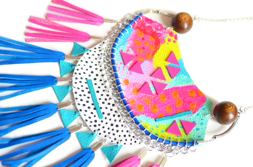 Neon Statement Necklace, Blue and Hot Pink Fringe, Crescent Leather Necklace, Wood Bead and Chunky Chain Tribal Necklace.jpg